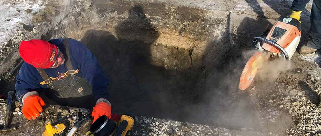 Sewer line repair during winter